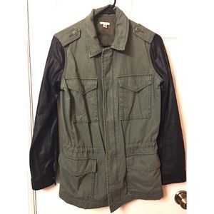 Ecote Army Green Faux Leather Jacket